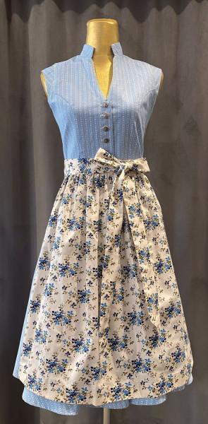 Vintage Baumwolldirndl Goldstich hellblau creme geblümt 65cm