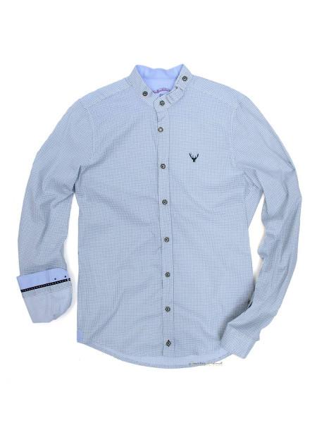 Trachtenhemd Langarm Pure weiß grün mit Stehkragen