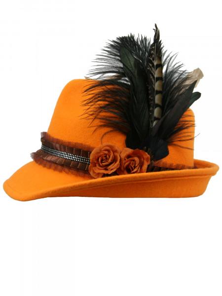 Trachtenhut Dirndlhut Sommerwiese orange mit zwei Rosen von Goldstich