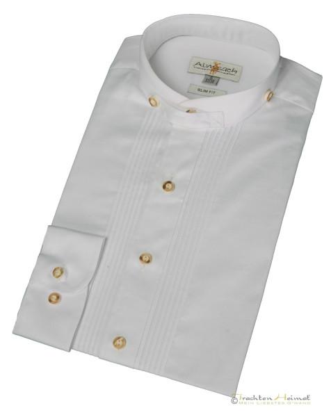 Trachtenhemd Langarm Almsach Baumwolle weiß Stehkragen Slim Fit