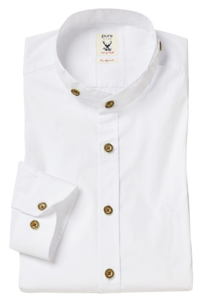 Trachtenhemd Langarm Pure weiß mit Stehkragen