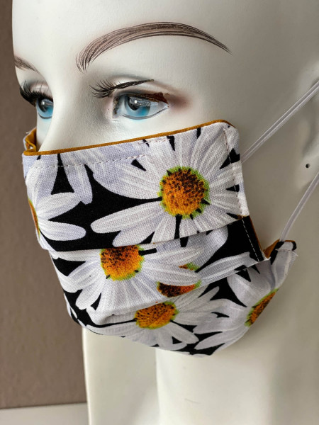 Mundmaske Nasenmaske schwarz geblümt mit Nasensteg