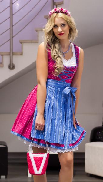 Almsach Baumwolldirndl Baerbel pink hellblau