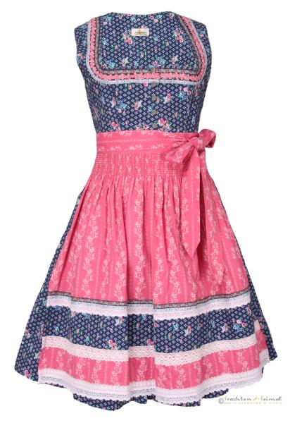 Baumwolldirndl Almsach blau pink 60cm