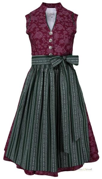 Vintage Baumwolldirndl Goldstich bordeaux grün 65cm