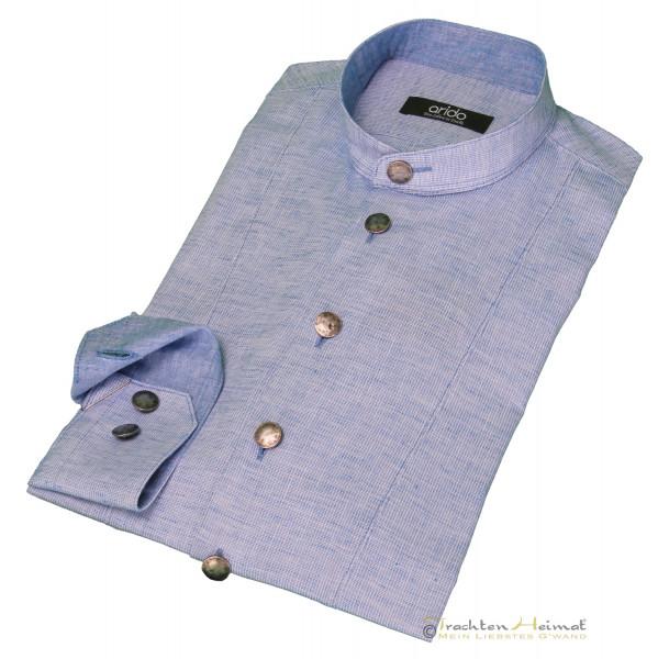 Trachtenhemd Herren Arido Langarm blau Stehkragen