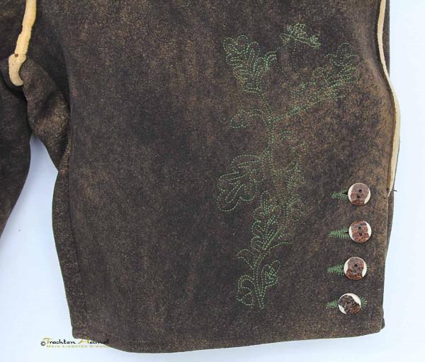 Hirschlederhose G´Weih & Silk Anderl dunkelbraun grün