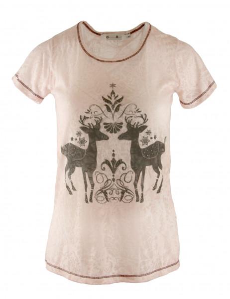 T-Shirt Damen G´Weih & Silk Hirsche Modell 36 antik rose Vintage