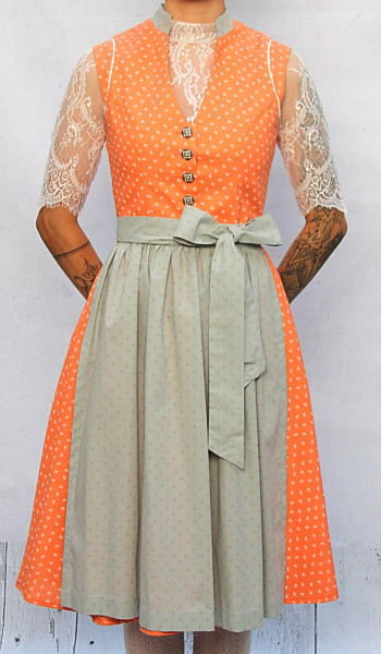 Vintage Baumwolldirndl Goldstich orange grau