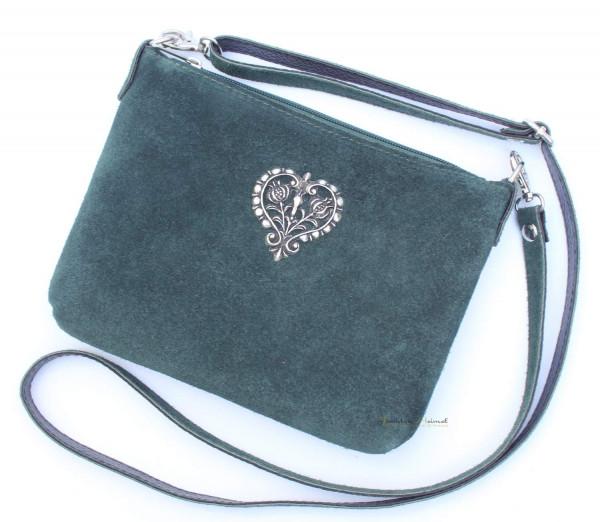 Dirndltasche Trachten Handtasche Metallherz tanne